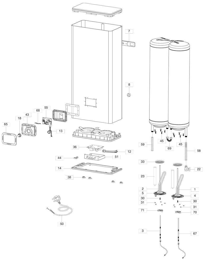 Схема водонагревателя Ariston ARI FLAT PW